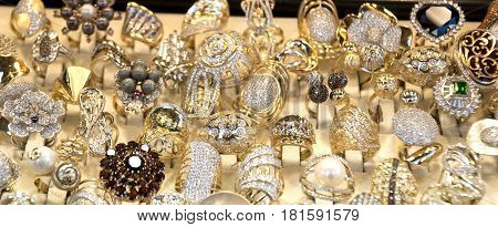 Window Display Of Jewelry Shop, Macedonian Old Turkish Bazaar In Skopje, Macedonia