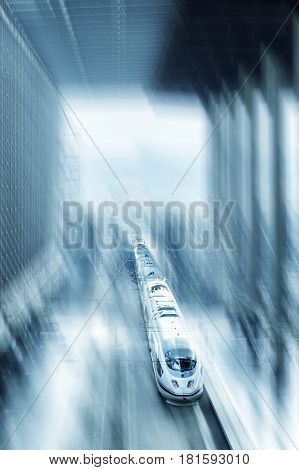 A high speed express train in Europe, a toned image with motion blur and a place for text