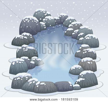 hot springs onsen in snow winter vector illustration