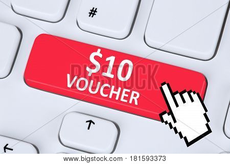 10 Dollar Voucher Gift Discount Sale Online Shopping Internet Shop