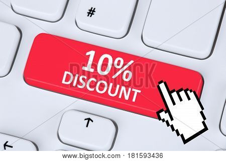 10% Ten Percent Discount Button Coupon Voucher Sale Online Shopping Internet