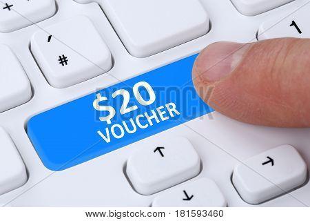 20 Dollar Voucher Gift Discount Sale Online Shopping E-commerce Internet Shop