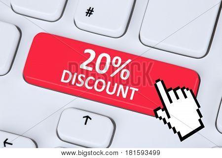 20% Twenty Percent Discount Button Coupon Voucher Sale Online Shopping Internet