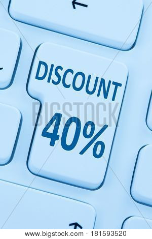 40% Forty Percent Discount Button Coupon Sale Online Shopping Internet Shop
