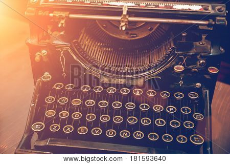 Vintage Typewriter Machine retro style with sunlight effect, Typewriter of the early twentieth century