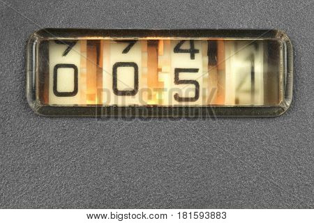 Old mechanical counter close up image .