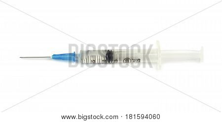 Medical syringes with injection solution on white background.