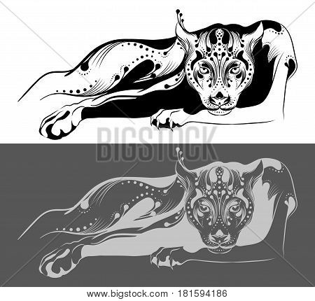 Stylized panther painted with black lines on a white background