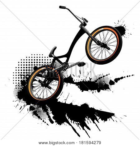 Bmx bicycle grunge background Grunge on white background
