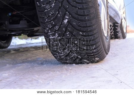 Winter tire , close up image .