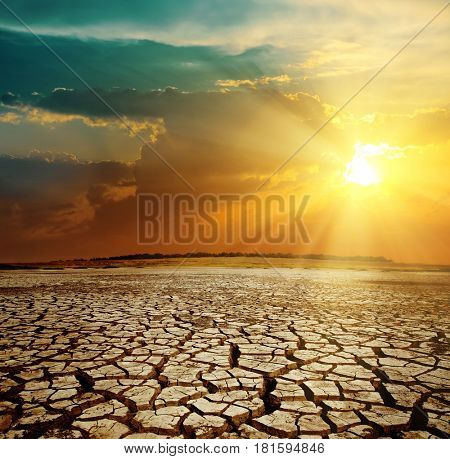 orange sunset and drought earth