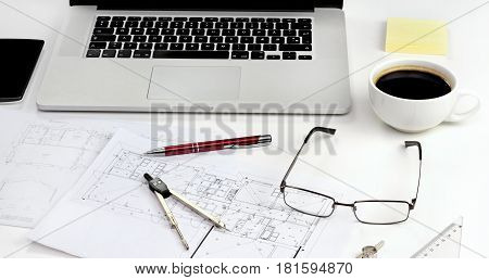Working table of architect. Office life concept.