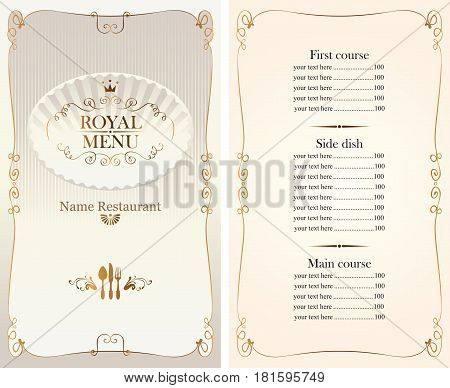 royal menu for restaurant or cafe with price list gold pattern cutlery and curly frame in baroque style