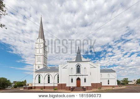 ABERDEEN SOUTH AFRICA - MARCH 23 2017: The historic Dutch Reformed Church in Aberdeen a small town in the Eastern Cape Province. It was built 1907