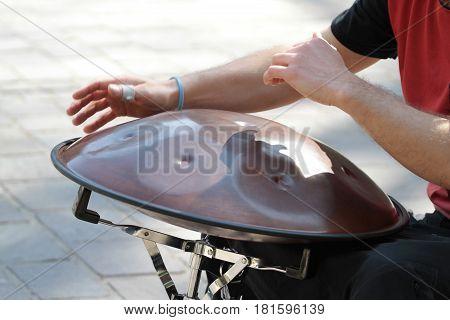 Hang drum music instrument close up image .