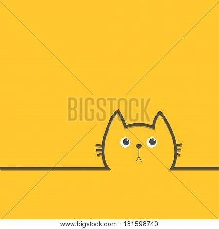 Black cat head face with eyes Contour silhouette line icon. Cute cartoon character. Kitty kitten with whisker Baby pet Yellow background. Isolated Flat design Vector illustration