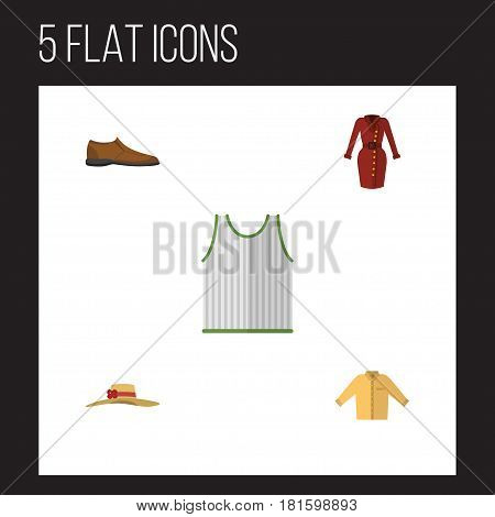 Flat Dress Set Of Clothes, Male Footware, Elegant Headgear And Other Vector Objects. Also Includes Man, Shoe, Garment Elements.