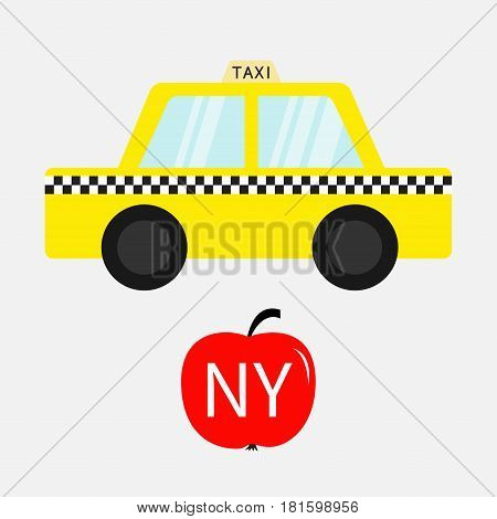 Taxi car cab icon. Red apple fruit. New York symbol. Cartoon transportation collection. Yellow taxicab. Checker line light sign. Isolated. White background. Vector illustration