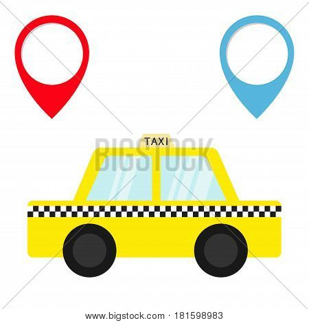 Taxi car cab icon. Placemark Map pointer navigation marker set. Cartoon transportation collection. Yellow taxicab. Checker line light sign. New York symbol. Isolated. White background. Vector