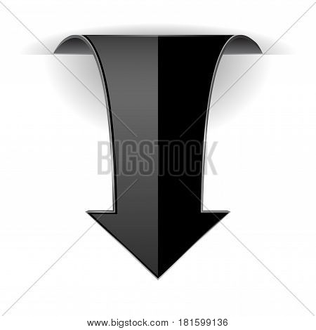 Black DOWN arrow. Web 3d icon. Vector illustration isolated on white background