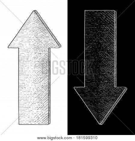 Up and down arrow. Hand drawn sketch. Vector illustration