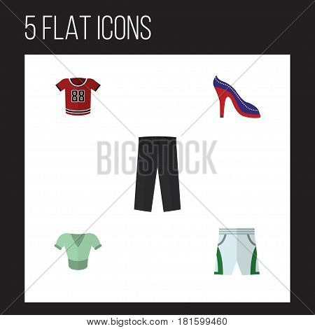 Flat Garment Set Of Trunks Cloth, Casual, Heeled Shoe And Other Vector Objects. Also Includes Leggings, Shirt, Heeled Elements.