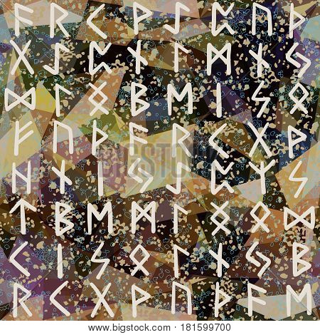 Abstract Seamless Pattern. Runes, Grunge Texture On Geometric Background. Colorful Futhark Alphabet