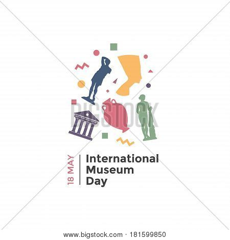 International Museum Day. May 18. Vector illustration on light background.