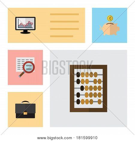 Flat Gain Set Of Counter, Money Box, Portfolio And Other Vector Objects. Also Includes Abacus, Calculator, Search Elements.