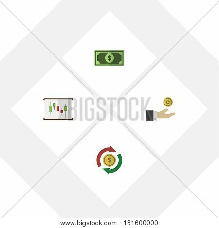 Flat Exchequer Set Of Greenback, Interchange, Hand With Coin Vector Objects. Also Includes Diagram, Greenback, Interchange Elements.