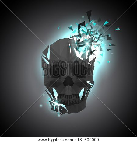 Black Polygonal Skull Illustration with Explosion on Dark Background. Abstract Vector Art. Light Blast and Flying Triangle Particles.
