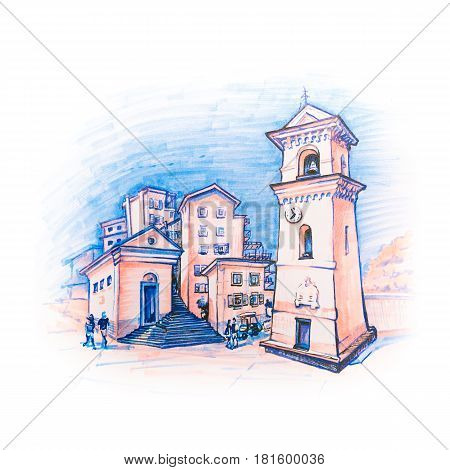 Tradicional houses and bell tower of church San Lorenzo or the Nativity of Maria Vergine in Manarola fishing village in Five lands, Cinque Terre National Park, Liguria, Italy. Picture made with markers
