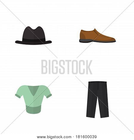 Flat Garment Set Of Male Footware, Pants, Panama And Other Vector Objects. Also Includes Shirt, Clothes, Pants Elements.