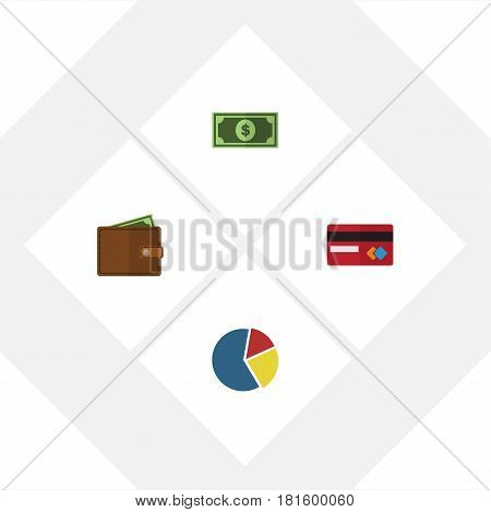 Flat Exchequer Set Of Payment, Billfold, Graph And Other Vector Objects. Also Includes Graph, Pocketbook, Bar Elements.