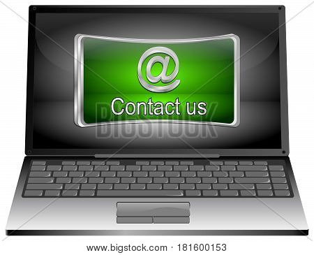 Laptop Computer with green Contact us Button - 3D illustration