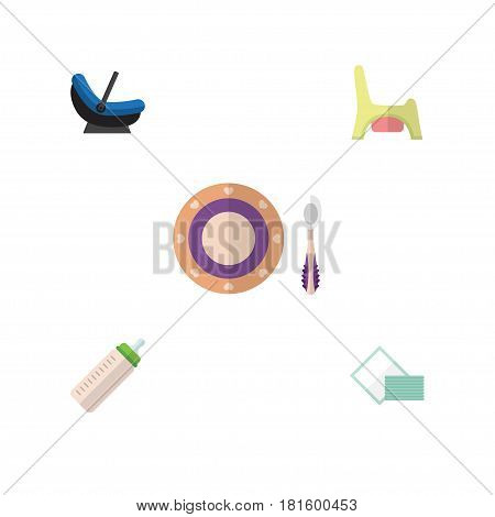 Flat Infant Set Of Napkin, Feeder, Toilet And Other Vector Objects. Also Includes Child, Cradle, Baby Elements.
