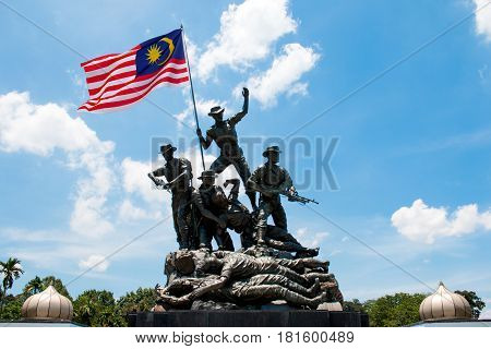 Kuala Lumpur, Malaysia - Mar 23, 2017: Malaysia National Monument Also Known As Tugu Negara. The Nat