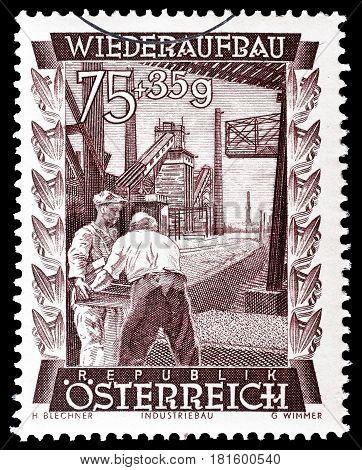 AUSTRIA - CIRCA 1948 : Cancelled postage stamp printed by Austria, that shows Gas works in Vienna.