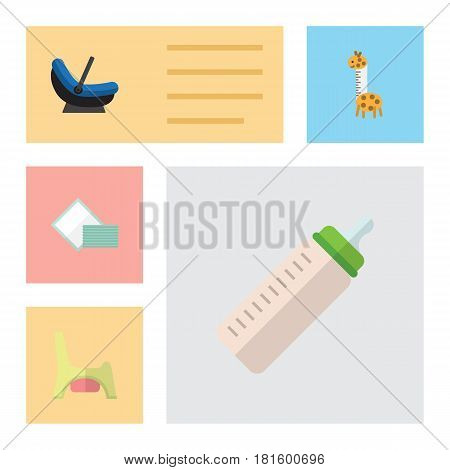 Flat Child Set Of Toilet, Napkin, Feeder And Other Vector Objects. Also Includes Potty, Towel, Pram Elements.