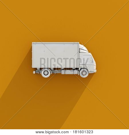 3d render: White Delivery Truck Icon, Transporting Service