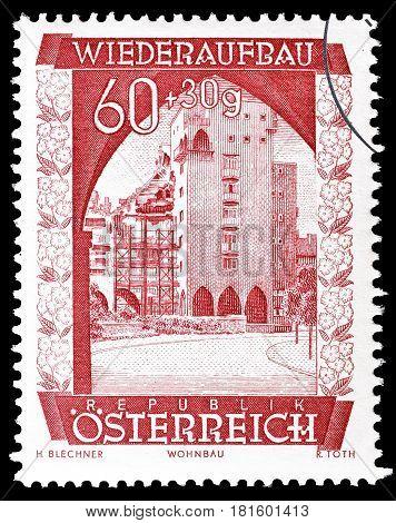 AUSTRIA - CIRCA 1948 : Cancelled postage stamp printed by Austria, that shows Rabenhof.
