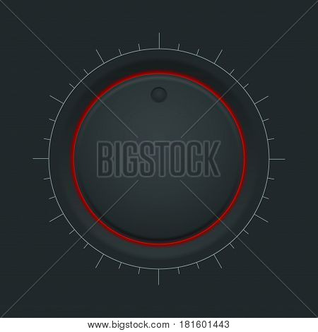 Black inetrface button. Round knob with red backlight. Vector illustration