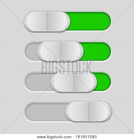 Web interface slider. User interface green control bar. Vector illustration