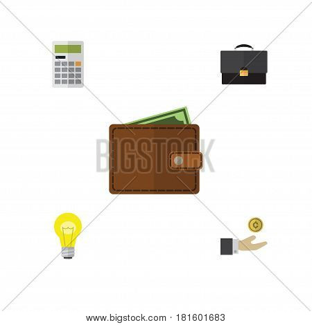 Flat Gain Set Of Calculate, Portfolio, Billfold And Other Vector Objects. Also Includes Diplomat, Calculator, Calculate Elements.