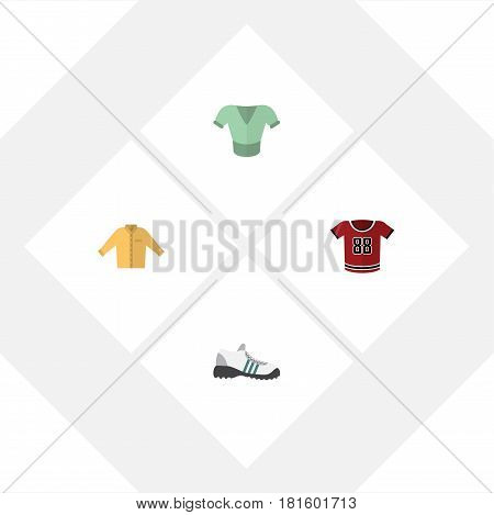 Flat Garment Set Of Banyan, Sneakers, Casual And Other Vector Objects. Also Includes Sneakers, Shoes, Shirt Elements.