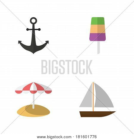 Flat Beach Set Of Yacht, Sundae, Ship Hook And Other Vector Objects. Also Includes Boat, Beach, Sundae Elements.
