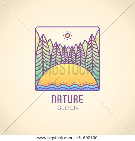 Vector logo of nature on vintage background. Linear square icon of landscape with trees, field and sun. Business emblem, badge for a travel, farming and ecology concepts, health and yoga Center.