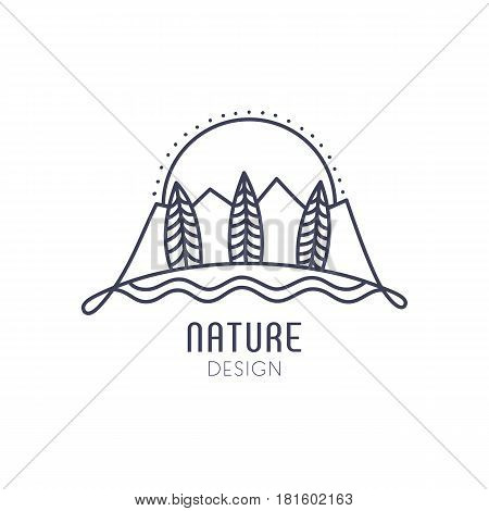 Vector logo of nature on white background. Linear icon of landscape - mountains, trees, sun. Business emblem, badge for a travel, alternative medicine and ecology concepts, health and yoga Center.