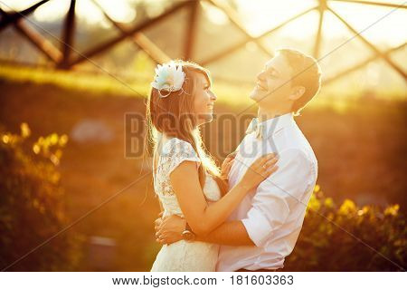 wedding. beautiful couple kissing in the sun. collage and