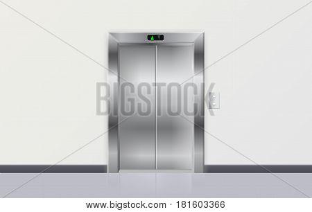 Elevator. Metal closed doors. modern lift. Vector illustration